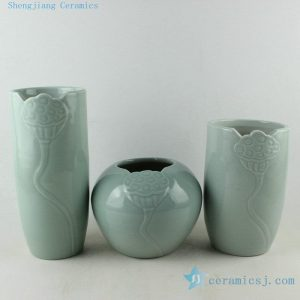 RYIE12 Celadon carved lotus set of three vases