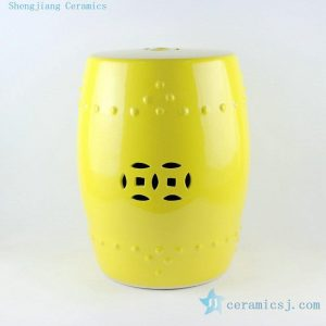 RYKB110 17inch Chinese yellow ceramic modern outdoor furniture stools