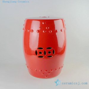 "RYKB111b 17"" Chinese red ceramic drum stools"