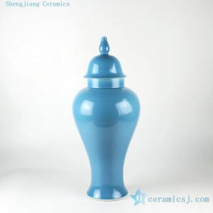 "RYKB112 20.4"" Blue ceramic solid color temple jar"