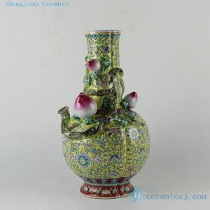 "RZDR01 14.7"" Chinese painted famille rose porcelain vase peach design"