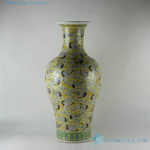 "RZDS01 26.5"" Chinese famille rose painted crane porcelain vase"