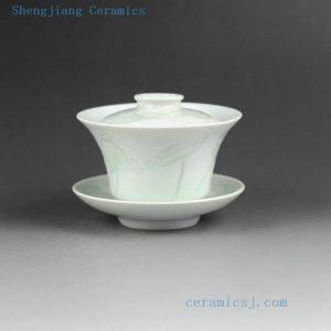 Jingdezhen porcelain Gaiwan celadon carved