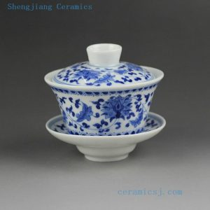 14AS139 120cc Jingdezhen porcelain blue white floral design Gaiwan