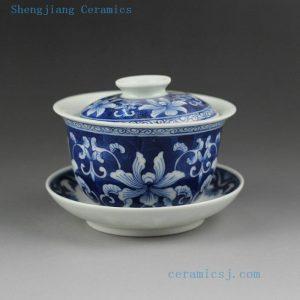Jingdezhen blue white floral fish design porcelain Gaiwan