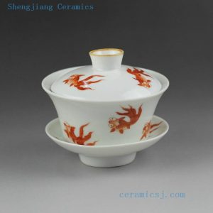 Jingdezhen hand made painted floral fish design porcelain Gaiwan