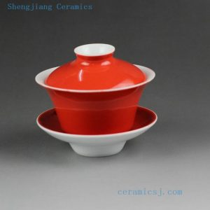 14CS27 100cc Jingdezhen hand made solid color porcelain Gaiwan