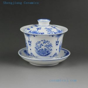 14DR11 Jingdezhen hand made painted blue white floral porcelain Gaiwan