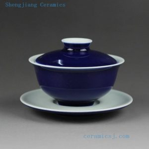 Jingdezhen hand made solid color porcelain Gaiwan Blue