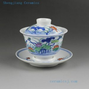 14G116 150cc Jingdezhen hand made painted lotus porcelain Gaiwan