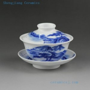Jingdezhen hand made painted blue white porcelain Gaiwan