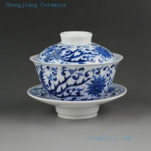 Jingdezhen hand made blue white painted porcelain Gaiwan, phoenix, kylin