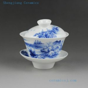 Jingdezhen hand made blue white painted porcelain Gaiwan, landscape , cat