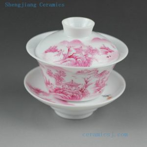 100cc Jingdezhen hand made famille rose painted porcelain Gaiwan, landscape , animal, peach, floral design