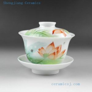 Jingdezhen hand made new color painted porcelain Gaiwan, landscape, fish, bird floral design