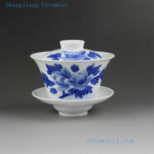 Jingdezhen hand made painted blue white porcelain Gaiwan, floral, butterfly, squirrel, peach, Beijing opera face design