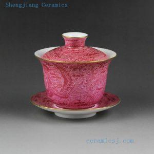 Jingdezhen hand made needle painting porcelain Gaiwan, floral, bird, phoenix, landscape design