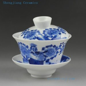 Jingdezhen hand made porcelain blue white Gaiwan, floral, bird, figurine design
