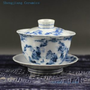Jingdezhen hand made porcelain blue white Gaiwan, dragon, figurine design