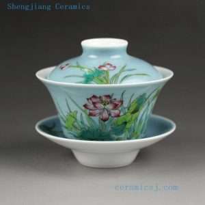 Jingdezhen hand made porcelain solid color with famille rose painting Gaiwan, floral boy design