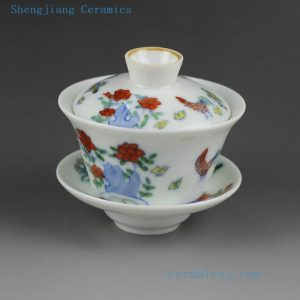 Jingdezhen hand made porcelain Gaiwan, blue white doucai chicken, flower, fish, dragon design