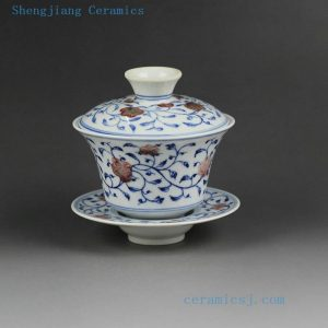 Jingdezhen hand made porcelain Gaiwan, blue white flower, bird, phoenix, long life design