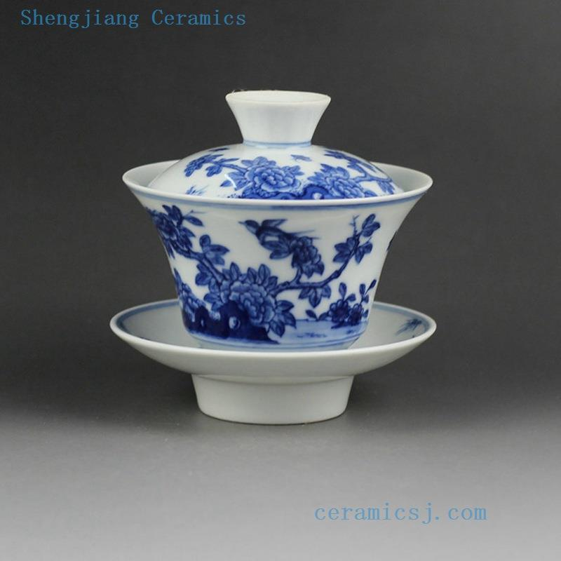 Jingdezhen Hand Made Porcelain Gaiwan Blue White Flower