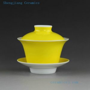 14CS110 Solid color ceramic tea cups gaiwan in yellow green red pink color etc.