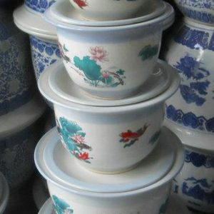 RYIQ Chinese set of 7 ceramic planters with saucers
