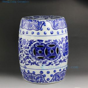 RYIR107 Chinese blue white ceramic garden stool floral design 3 sizes