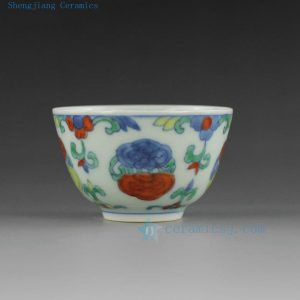 Porcelain blue white doucai tea cups