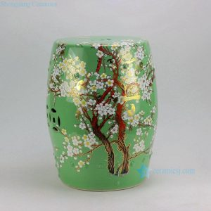 "RYKB116 17"" Chinese ceramic garden outdoor stools solid color with floral design"