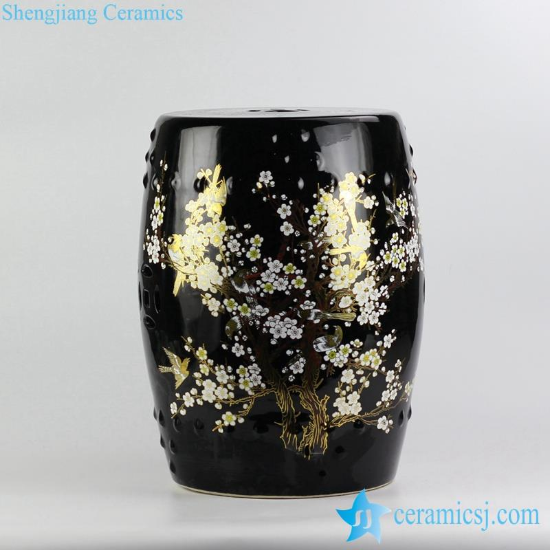 golden blossom pattern ceramic stool
