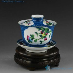 porcelain needle painting tea cups gaiwan and tea jars