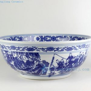 "RZDE01 16"" Chinese blue white fish bowls children playing design"