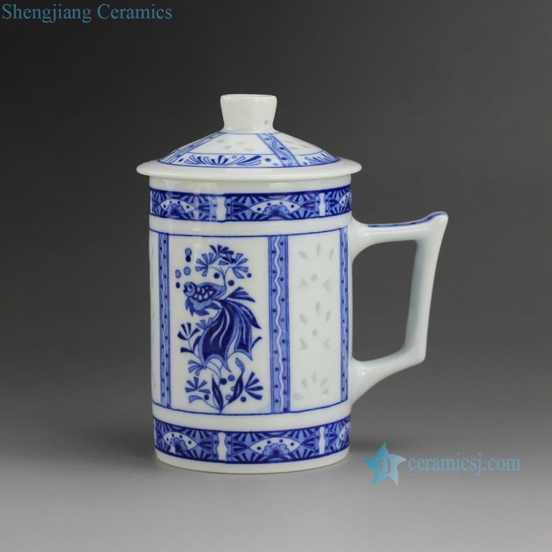 Cbaf01 10 10 Design Jingdezhen Blue And White Rice Pattern