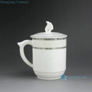CBAG03-06 Jingdezhen porcelain tea mugs lidded with handle