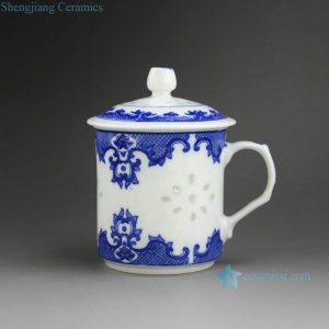 CBAH01 Jingdezhen blue and white rice pattern porcelain tea mugs