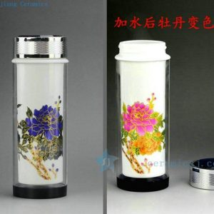CBAJ04 Jingdezhen Ceramic vacuum cup flower color change design