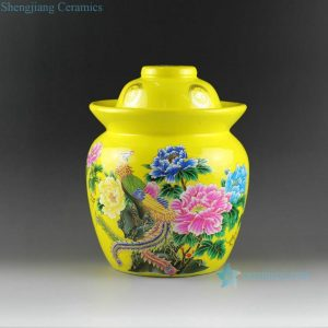 DL98 Flower bird butterfly design ceramic pickle jars red, yellow and blue