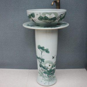 RYXW030 Hand painted lotus floral design Ceramic Pedestal Lavatory Basin
