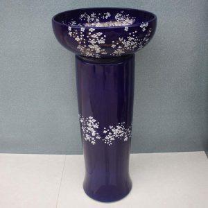 RYXW031 Blue floral design Ceramic Pedestal Lavatory Basin