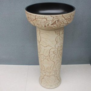 RYXW033 Carved flower bird design Ceramic Pedestal Lavatory Sink
