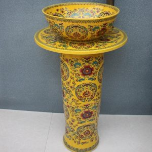 RYXW035 Chinese yellow flower design Ceramic Pedestal Lavatory Sink