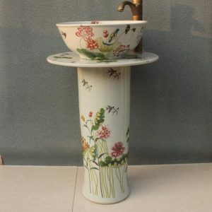RYXW039 Lotus Flower design Ceramic Pedestal Lavatory Sink