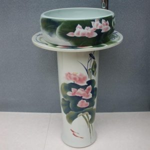 RYXW041 Chinese lotus flower design Ceramic Pedestal Lavatory Basin