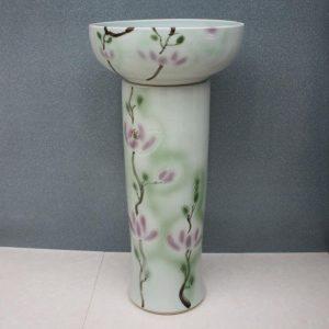 RYXW046 Flower design Ceramic Pedestal Lavatory Basin