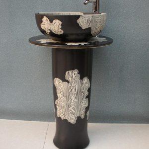 RYXW047 Engraved character design Ceramic Pedestal Lavatory Basin