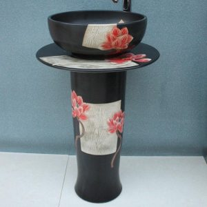 Engraved flower design Ceramic pedestal washbasin