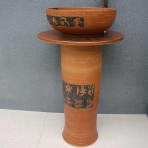 RYXW053 Engraved design Ceramic Pedestal Lavatory Basin